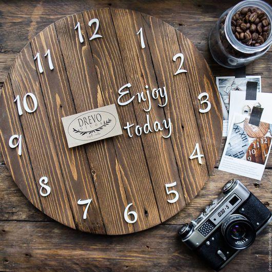 Часы для дома ручной работы. Ярмарка Мастеров - ручная работа. Купить Часы для дома деревянные стиль лофт настенные коричневые. Handmade.