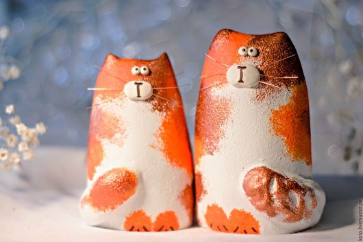 Подарки для влюбленных ручной работы. Ярмарка Мастеров - ручная работа. Купить Подарок ко Дню Святого Валентина - пара кот и кошка рыжие пятнистые. Handmade.