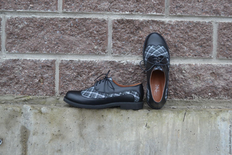 Обувь ручной работы. Ярмарка Мастеров - ручная работа. Купить Женские туфли  на шнурках ЧЕРНО ... 95d0f92737d