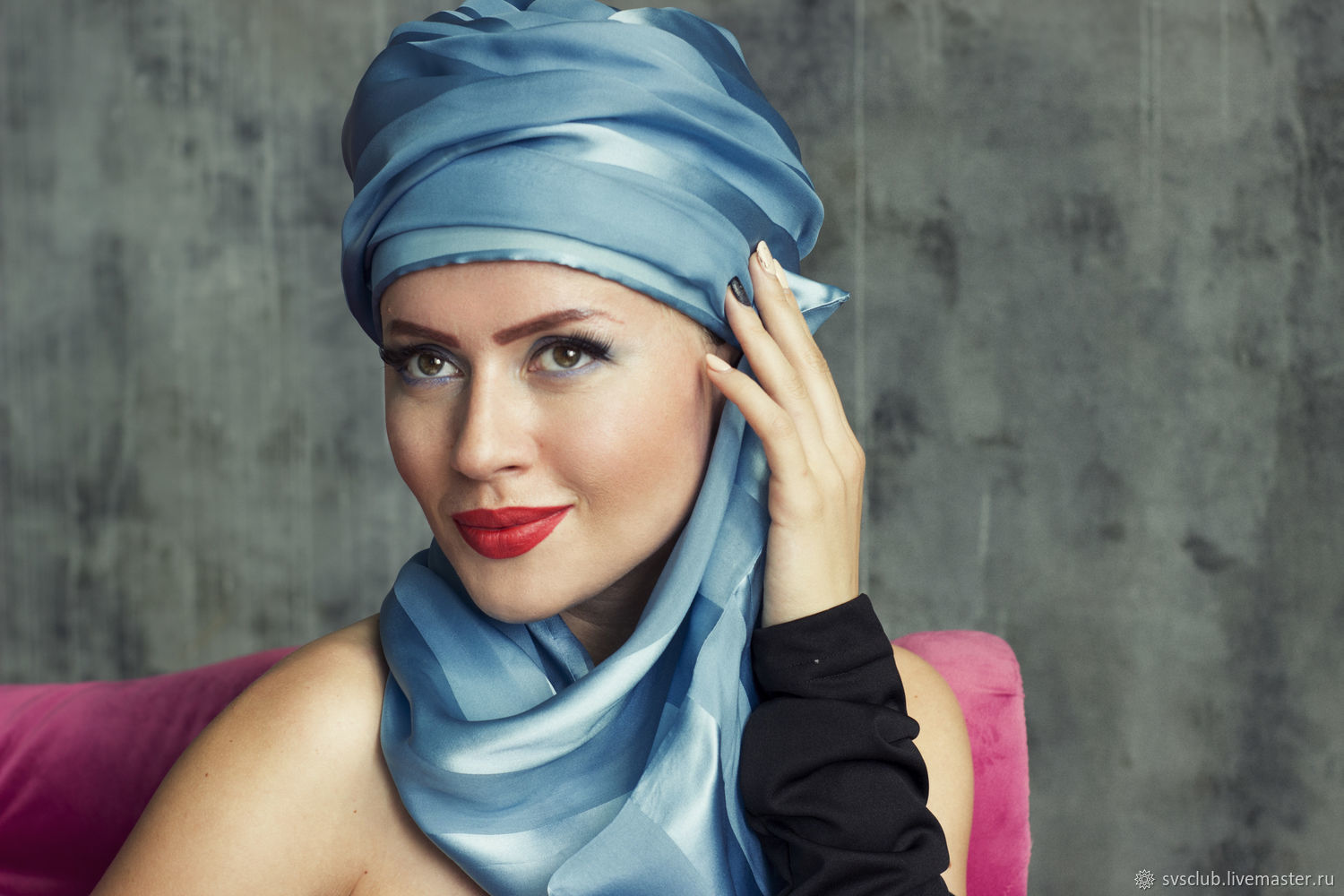 Bluemarin silk turban hat hijab with tale, Caps, Moscow,  Фото №1