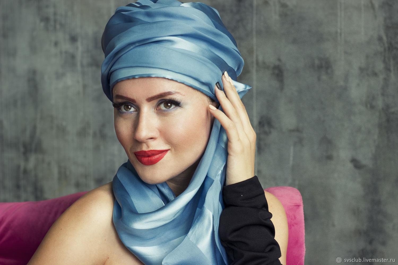 ТЮРБАН шапка из голубого шёлка в полоску с шлейфом. Аквамарин, Шапки, Москва,  Фото №1