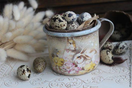 """Подарки на Пасху ручной работы. Ярмарка Мастеров - ручная работа. Купить """"Пасхальные кролики"""" кружка. Handmade. Голубой, кружка"""