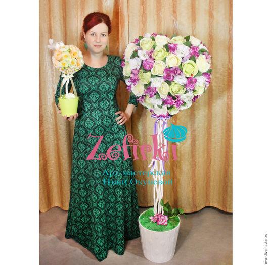 Топиарии ручной работы. Ярмарка Мастеров - ручная работа. Купить Сердце Большой Топиарий дерево счастья. Дерево из цветов розы подарок. Handmade.