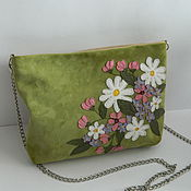 Сумки и аксессуары handmade. Livemaster - original item Handbag leather over the shoulder. Handbag with chain. Spring garden. Handmade.