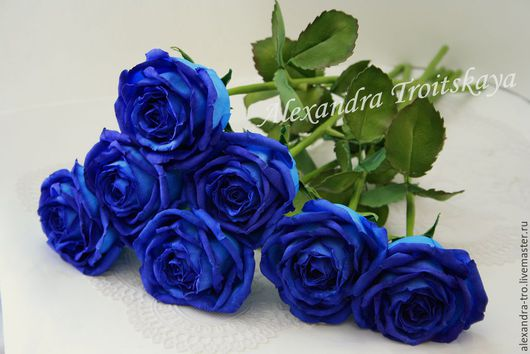 """Цветы ручной работы. Ярмарка Мастеров - ручная работа. Купить Роза """"Индиго"""" из фоамирана на стебле из холодного фарфора. Handmade. фом"""