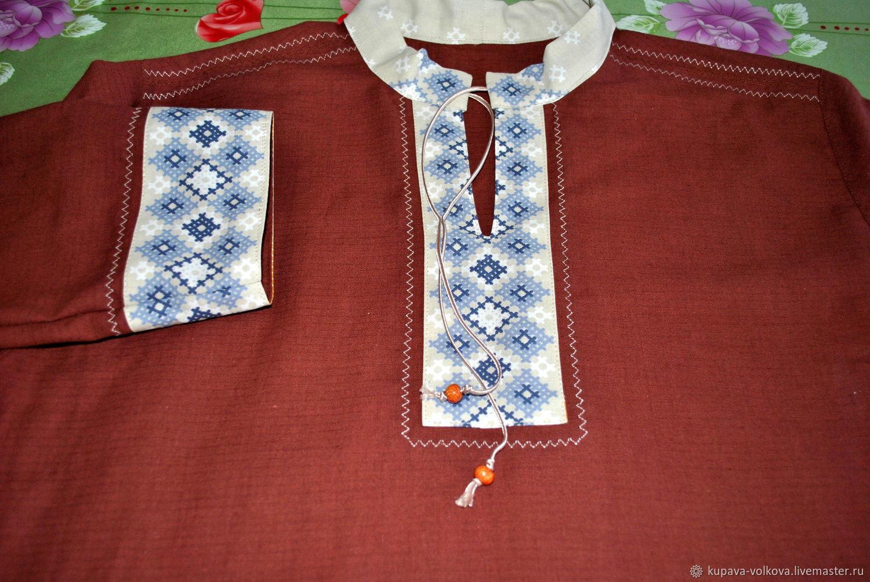 Мужская льняная рубаха славянская, русская, Народные рубахи, Анапа,  Фото №1