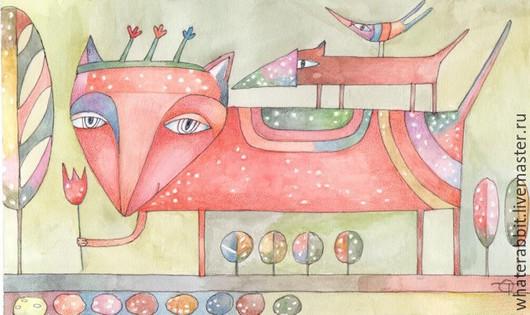 Фантазийные сюжеты ручной работы. Ярмарка Мастеров - ручная работа. Купить Зверь). Handmade. Разноцветный, картина в подарок, картина в детскую
