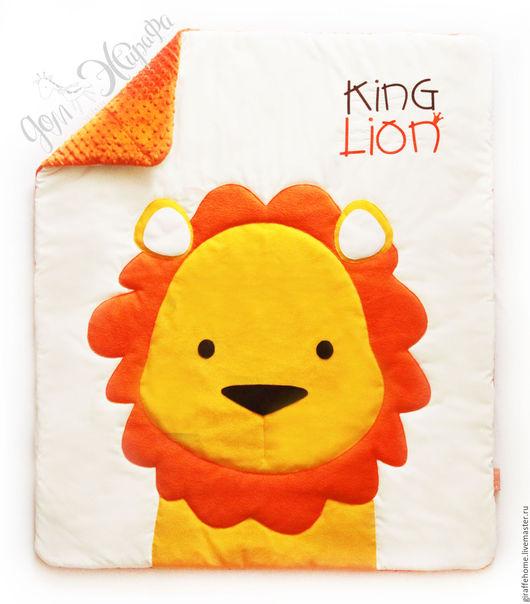 """Для новорожденных, ручной работы. Ярмарка Мастеров - ручная работа. Купить Одеяло для детей """"Король Лев"""". Handmade. Оранжевый"""