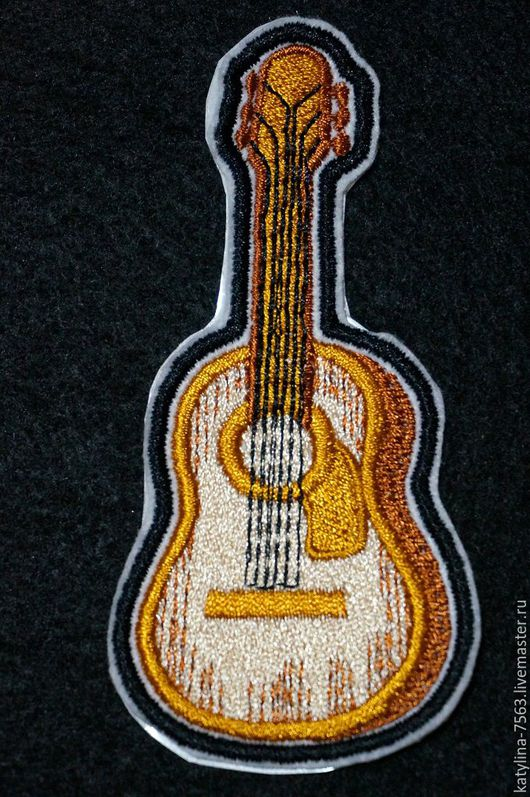 """Аппликации, вставки, отделка ручной работы. Ярмарка Мастеров - ручная работа. Купить Нашивка""""Гитара"""". Handmade. Комбинированный, гитарист, нашивки"""