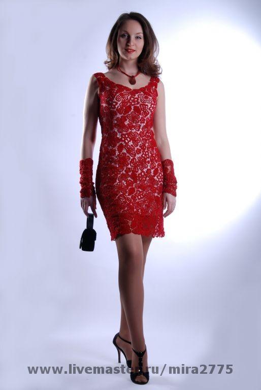 Платье красное кармен
