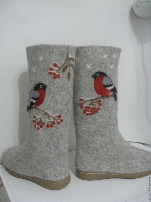 Обувь ручной работы. Ярмарка Мастеров - ручная работа. Купить Валенки женские Снегири. Handmade. Серый, валенки с рисунком