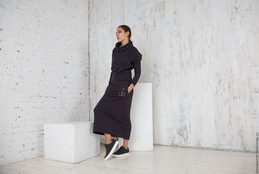 Костюмы ручной работы. Ярмарка Мастеров - ручная работа. Купить Костюм теплый юбка длинная и свитшот. Handmade. Темно-серый