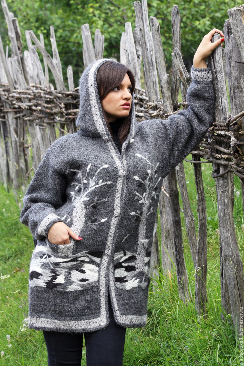 Sirogojno style hand knitted jacket with hood `branches of the trees` Model 4624