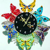 Для дома и интерьера handmade. Livemaster - original item Wall clock in the technique of fusing. Butterflies. Handmade.