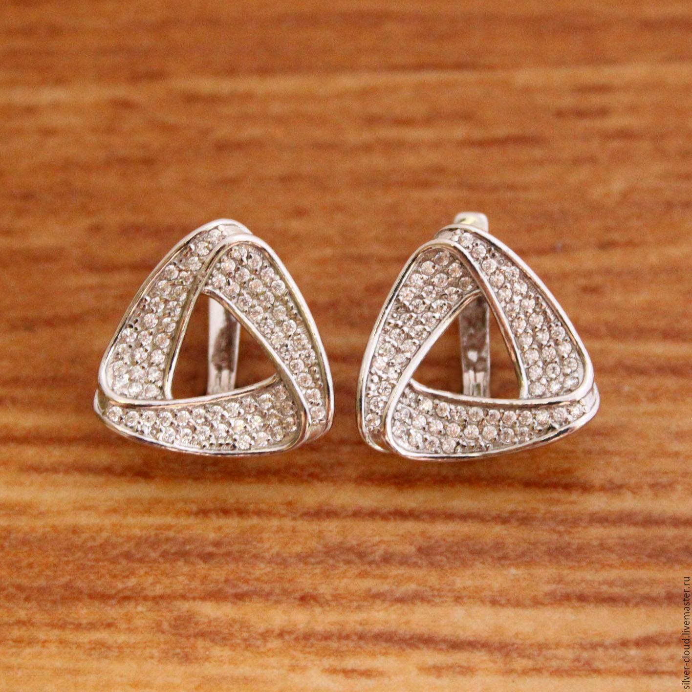 0819c947d68c Серебряные серьги Треугольник, серебро 925