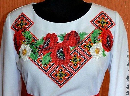 Пример вышитой заготовки сорочки бисером