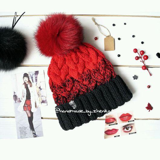 Шапки ручной работы. Ярмарка Мастеров - ручная работа. Купить Красная вязаная шапка градиент. Handmade. Вязаная шапка, красный