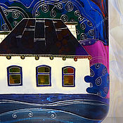 Посуда handmade. Livemaster - original item Flask bottle House, stained glass painting. Handmade.