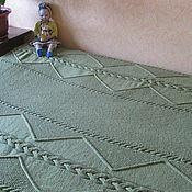 Для дома и интерьера handmade. Livemaster - original item Blankets: Large knitted blanket (bedspread) Emerald Braids. Handmade.
