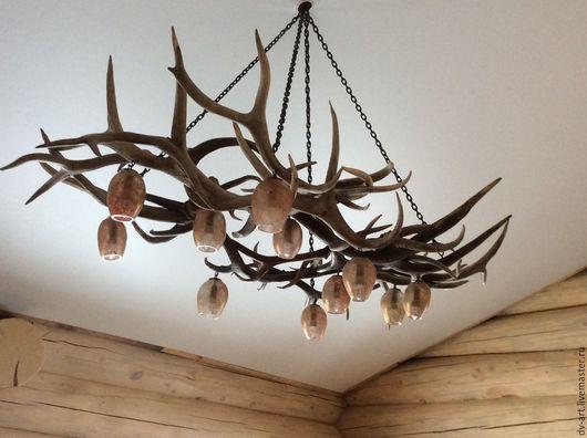 Освещение ручной работы. Ярмарка Мастеров - ручная работа. Купить Люстра из рога марала с 11 плафонами. Handmade.
