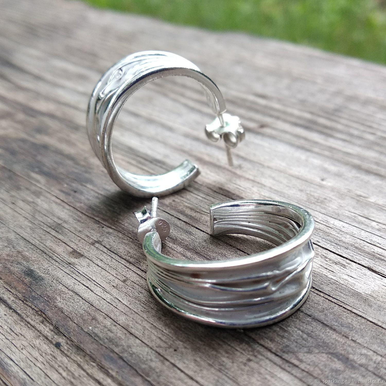 Earrings rings silver with enamel, Congo earrings, Moscow,  Фото №1