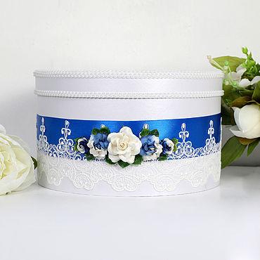 """Свадебный салон ручной работы. Ярмарка Мастеров - ручная работа Свадебная коробка для денег """"Цветочная"""" синий цвет. Handmade."""