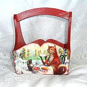 Basket handmade. Livemaster - original item Basket Tea party red cat. Handmade.