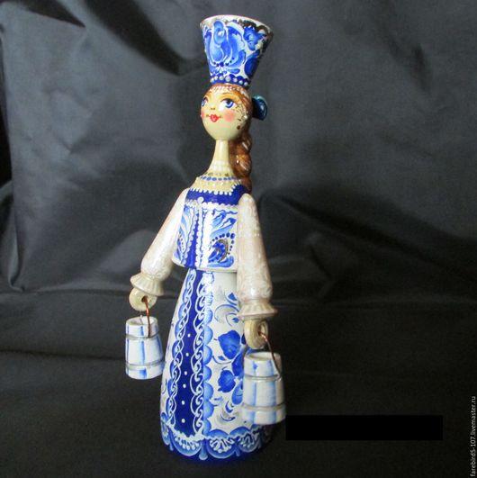 Миниатюрные модели ручной работы. Ярмарка Мастеров - ручная работа. Купить Деревянная куколка Гжелочка.. Handmade. Белый, кукла, гжель