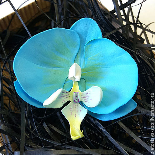 Броши ручной работы. Ярмарка Мастеров - ручная работа. Купить Орхидея голубая (брошь). Handmade. Бирюзовый, орхидея фаленопсис