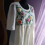 """Одежда handmade. Livemaster - original item Платье,ручная вышивка""""Чайная роза"""" Татьяна. Handmade."""