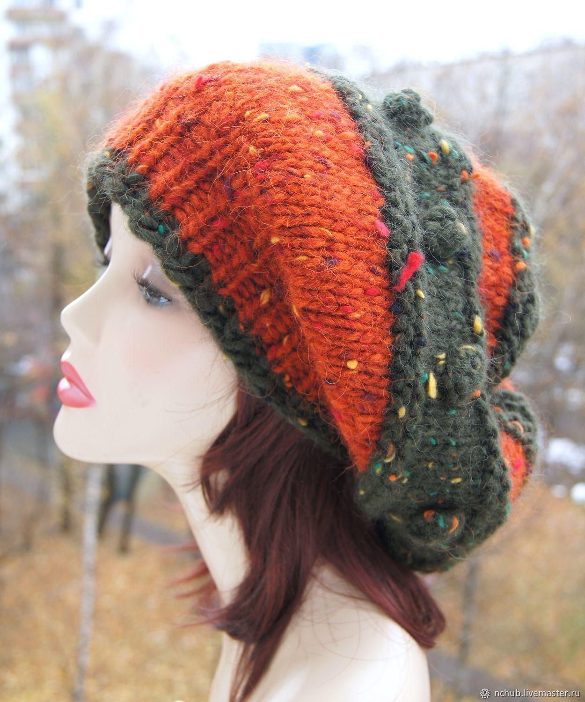 133be70efd2d2 Little pleasures for · Berets handmade. Order Takes boho knitted Orange bulk  of Icelandic wool 100.