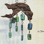 Украшения handmade. Livemaster - original item set charm jewelry from wood pendant and earrings malachite Spring. Handmade.