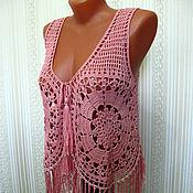 Одежда handmade. Livemaster - original item Vest with fringe knitted crochet. Handmade.
