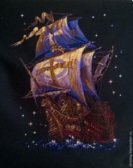 Пейзаж ручной работы. Ярмарка Мастеров - ручная работа. Купить путеводная звезда. Handmade. Корабль, паруса, пейзыж, ночь, черный
