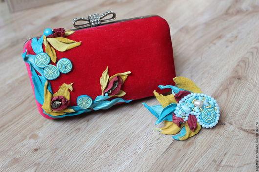Женские сумки ручной работы. Ярмарка Мастеров - ручная работа. Купить Яркая сказка. Handmade. Ярко-красный, красный клатч