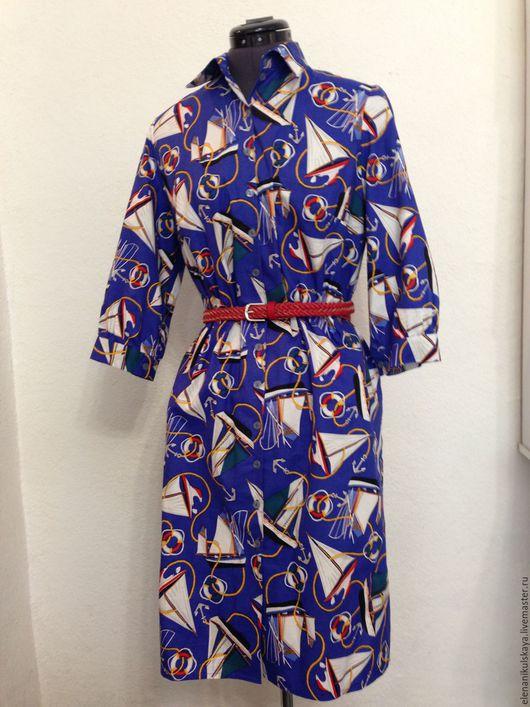 """Платья ручной работы. Ярмарка Мастеров - ручная работа. Купить Платье-рубашка """"Корабли"""". Handmade. Тёмно-синий, платье-рубашка"""