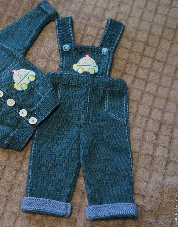 Вязаный джинсовый костюмчик для мальчика спицами – купить ...