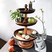 Посуда handmade. Livemaster - original item Three-tiered vase for fruit and sweets (fruit bowl) made of cedar V16. Handmade.