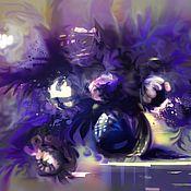 Картины и панно ручной работы. Ярмарка Мастеров - ручная работа Синяя Ваза и Пионы №2. Картина. Натюрморт. Handmade.