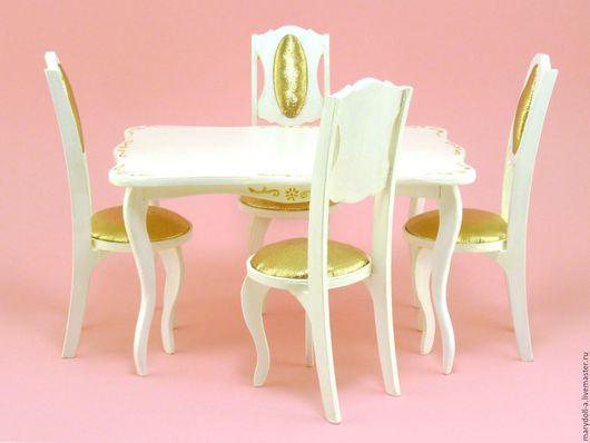 Миниатюра ручной работы. Ярмарка Мастеров - ручная работа. Купить Миниатюрный Обеденный стол и стулья. Handmade. Белый, мебель из дерева