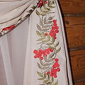 """Для дома и интерьера ручной работы. Ярмарка Мастеров - ручная работа вышивка на шторе """"Рябина"""". Handmade."""