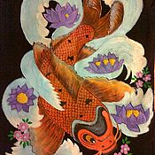 "Одежда ручной работы. Ярмарка Мастеров - ручная работа Роспись на футболке,,Рыба и змея"". Handmade."