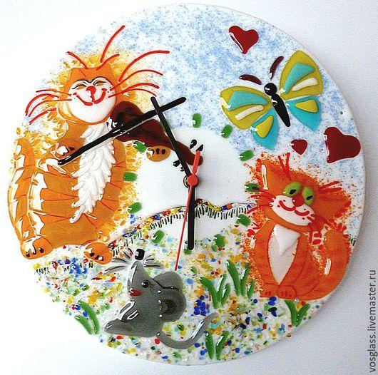 Часы для дома ручной работы. Ярмарка Мастеров - ручная работа. Купить Часы настенные Музыка стекло фьюзинг. Handmade. Оранжевый