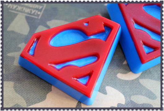 """Мыло ручной работы. Ярмарка Мастеров - ручная работа. Купить Мыло """"SUPERMAN"""". Handmade. Синий, 23 февраля 2016"""