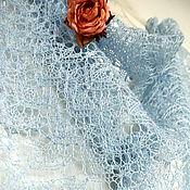 """Аксессуары ручной работы. Ярмарка Мастеров - ручная работа Небесно-голубая льняная косынка """"Celesta"""", летняя шаль. Handmade."""