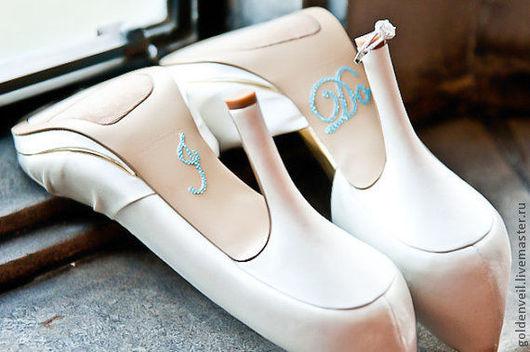 """Одежда и аксессуары ручной работы. Ярмарка Мастеров - ручная работа. Купить Наклейка """"I do"""". Handmade. Голубой, наклейки на обувь"""