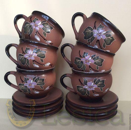 """Винтажная посуда. Ярмарка Мастеров - ручная работа. Купить Чайный набор """"Цветок яблони"""" керамика. Handmade. Коричневый, цветок яблони"""
