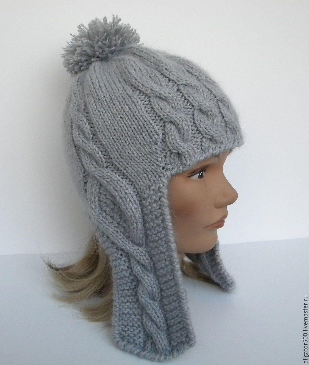 Вязаные женские шапки с ушками или завязками Вяжем с Лана Ви 98