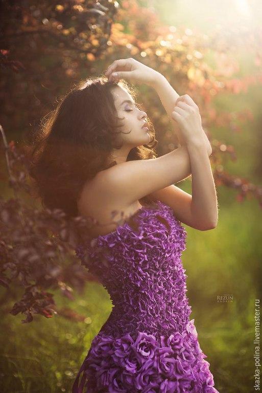 Платья ручной работы. Ярмарка Мастеров - ручная работа. Купить Платье Blooming Days. Handmade. Сиреневый, Платье в цветочек, шёлк