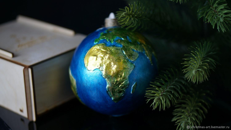 Елочная игрушка фарфоровая елочная игрушка планета Земля, Елочные игрушки, Москва,  Фото №1